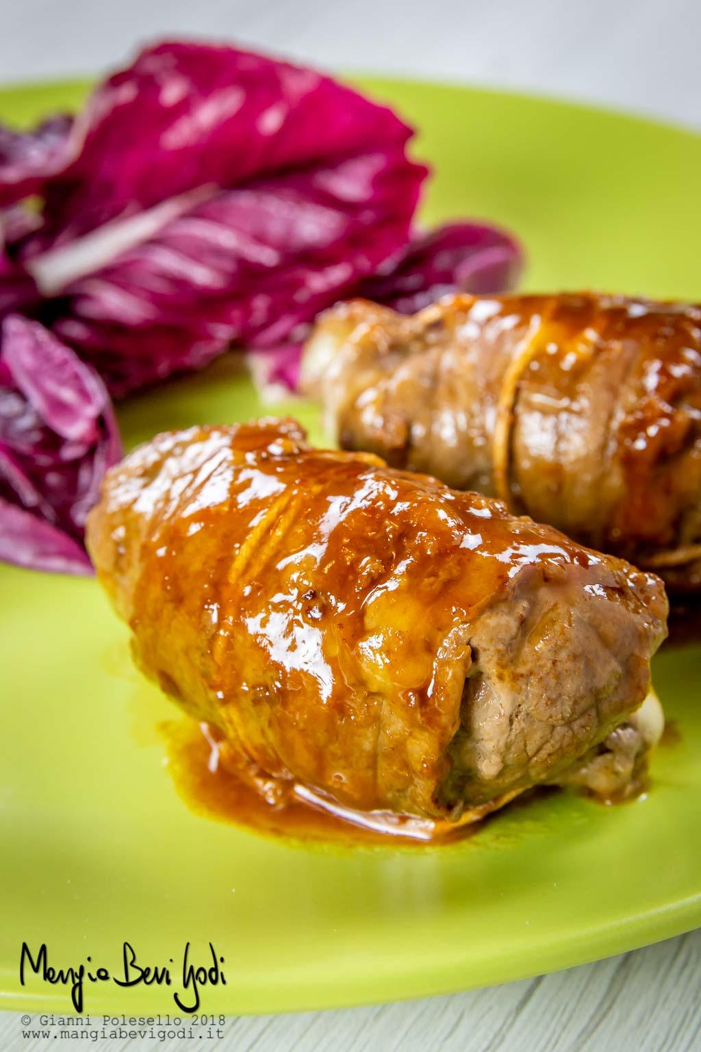Involtini di carne con pancetta e formaggio