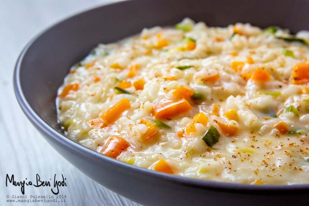 Risotto con carote, zucchine e casatella