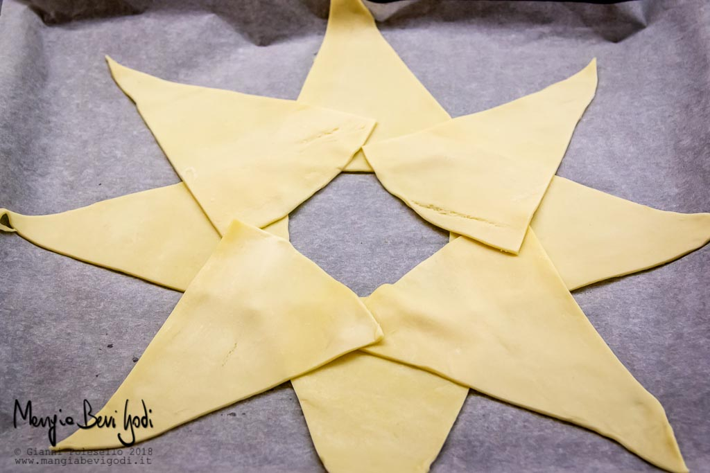 Posizionare i triangoli di pasta sfoglia a formare una stella con il buco al centro