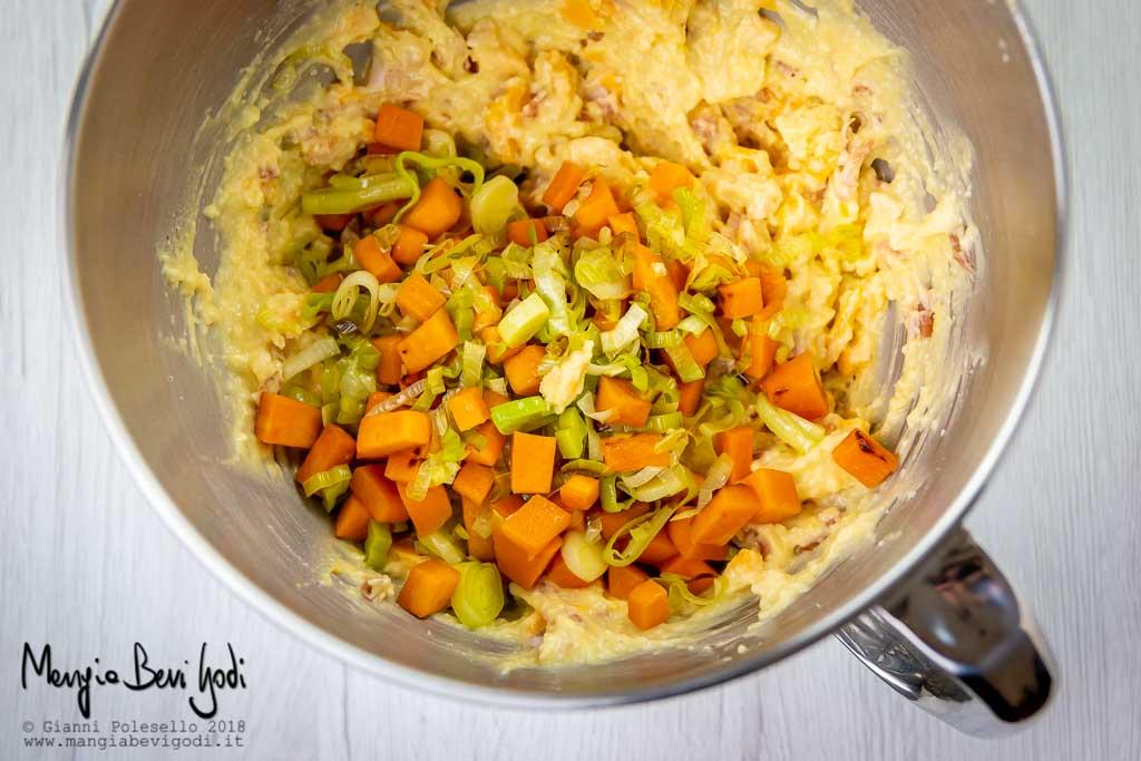 Preparazione impasto per muffin salati