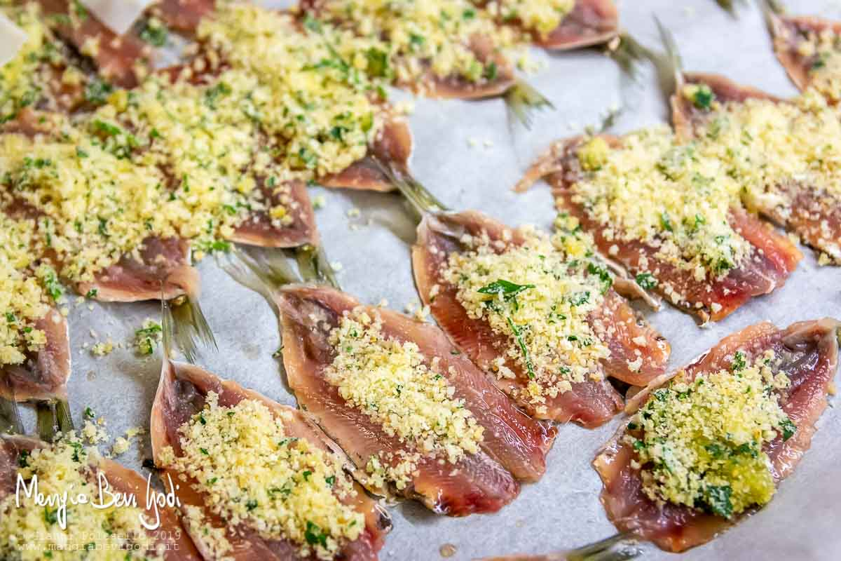 Preparazione sardine gratinate