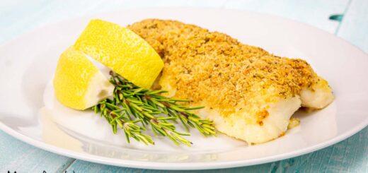 Merluzzo gratinato al limone e rosmarino
