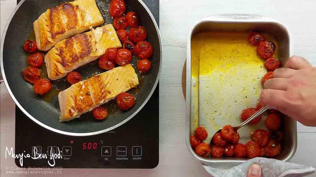 Cottura salmone con pomodorini in padella