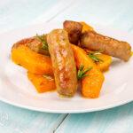 Zucca e salsiccia al forno