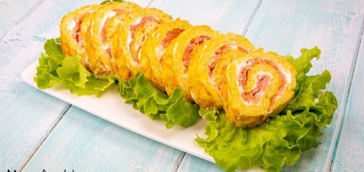 Rotolo di patate al salmone e formaggio