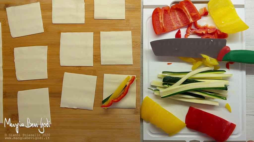 Farcire i cestini di sfoglia con le verdure